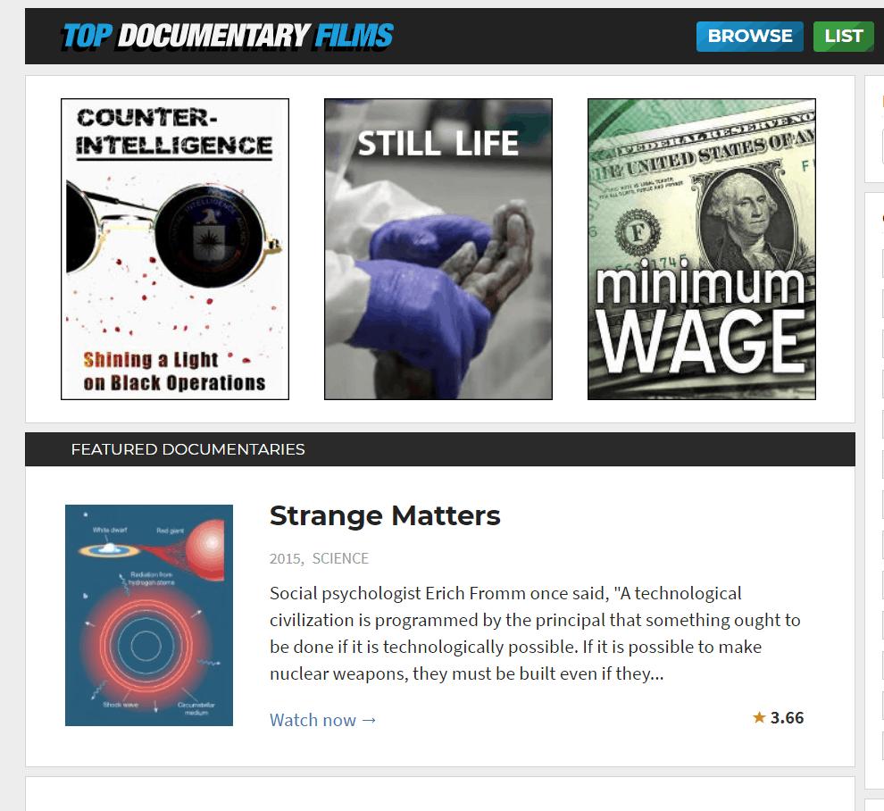 Top Documentary Films online logo