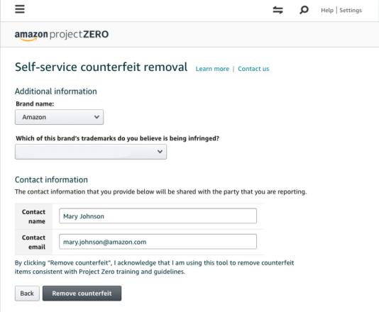 Page de suppression de faux billets Self-Service de Project Zero