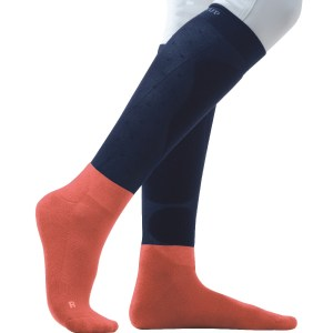 Chaussettes Femme Victoria Flags and Cup Bleu Marine Corail En Cadence