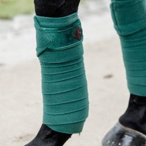 Kentucky Horsewear Bandes Polo Polaire Velvet Vert Sapin En Cadence