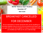 WOTM Breakfast Cancelled for December