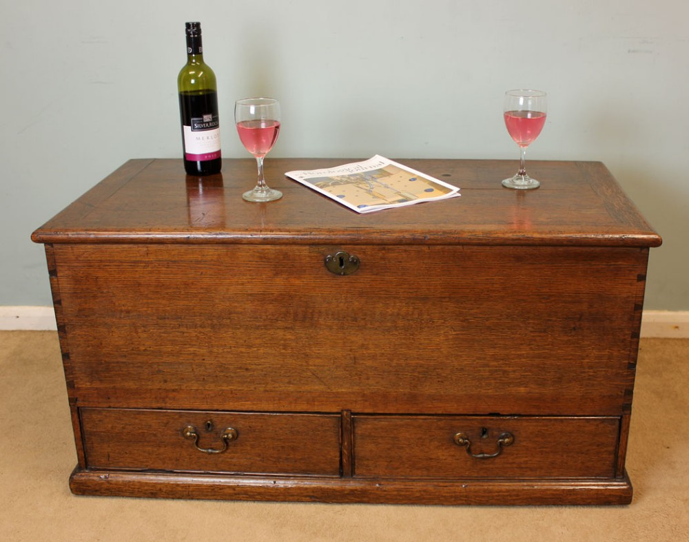 Antique Victorian Oak Mule Chest  Coffer Coffee Table