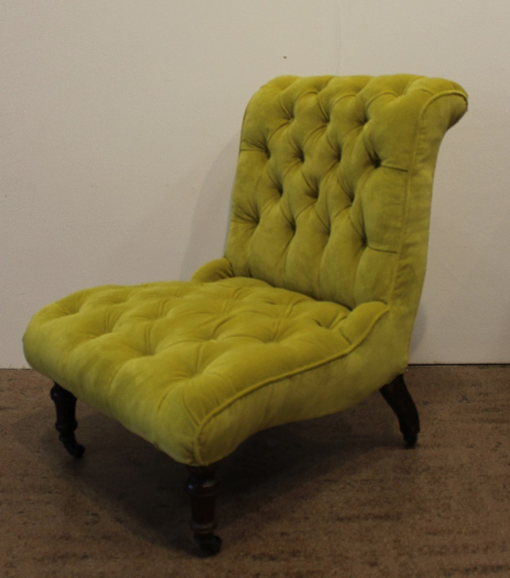 Velvet Slipper Chair Antique Button Back Chartreuse Velvet Slipper Chair 395422