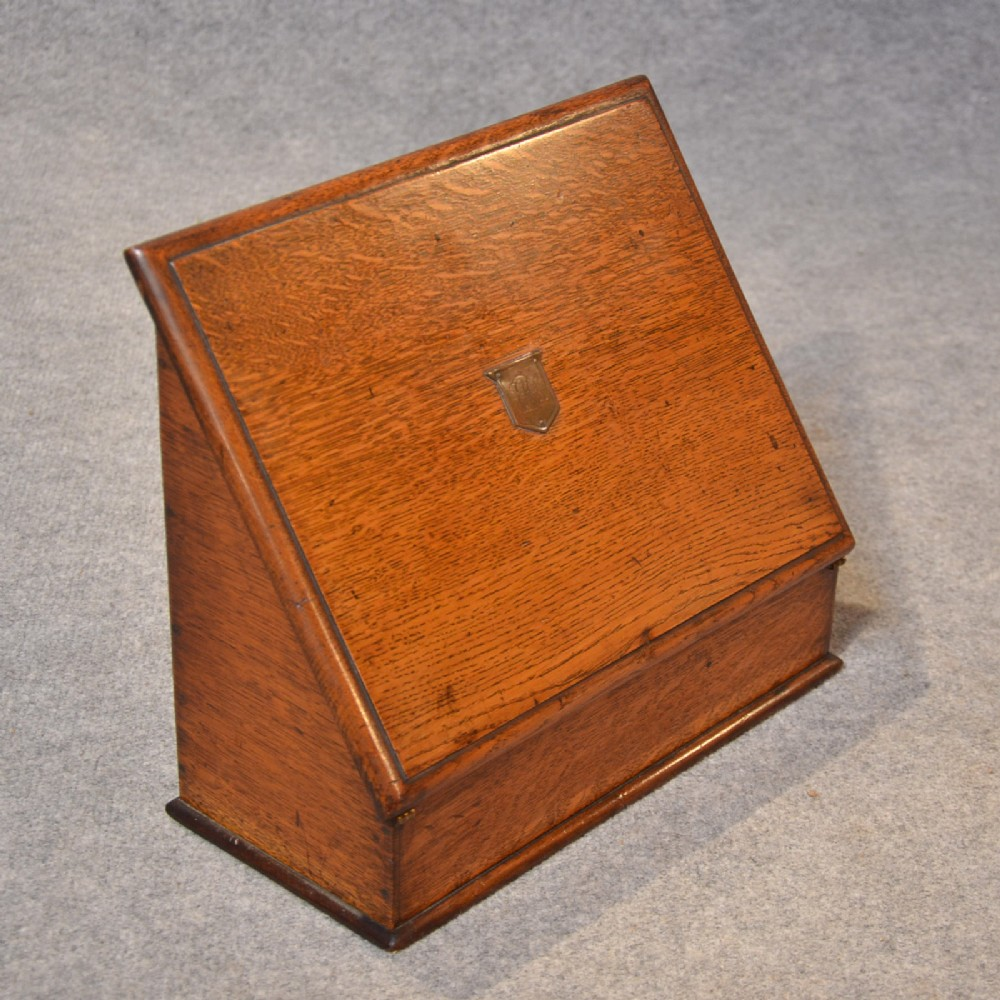 Antique Writing Box Quality Oak Stationery Box Desk Tidy