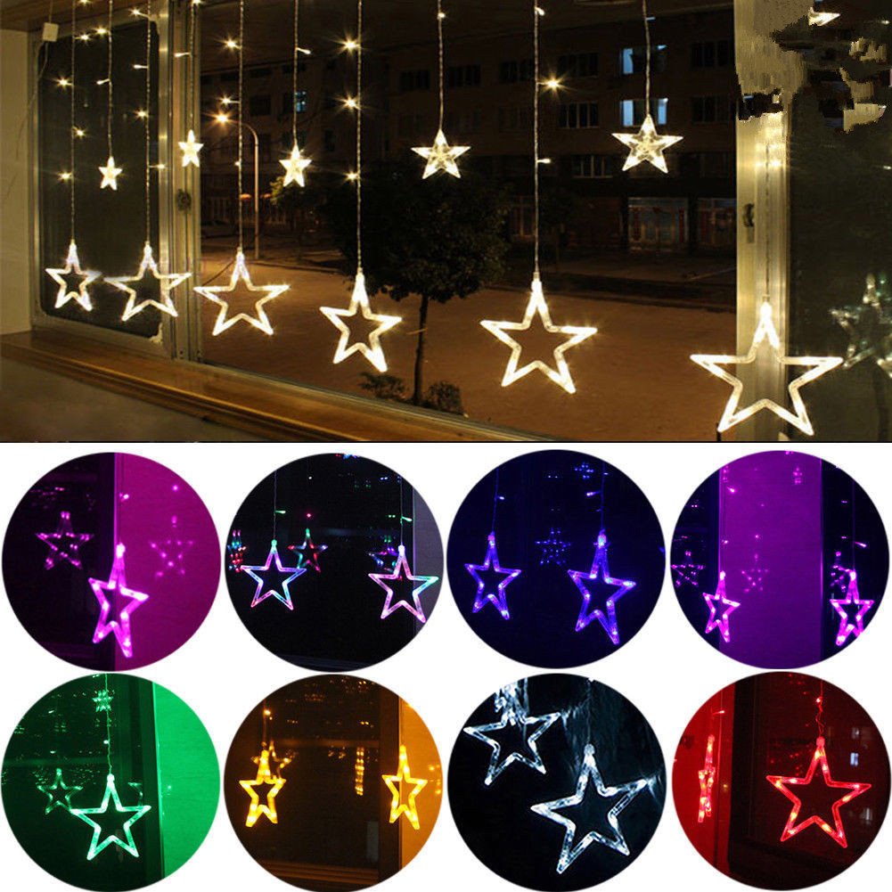 hight resolution of 138led star fairy light window curtains string lamp christmas xmas party decor