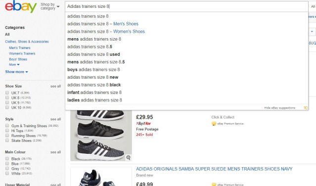 eBay search bar showing suggestions from drop down menu