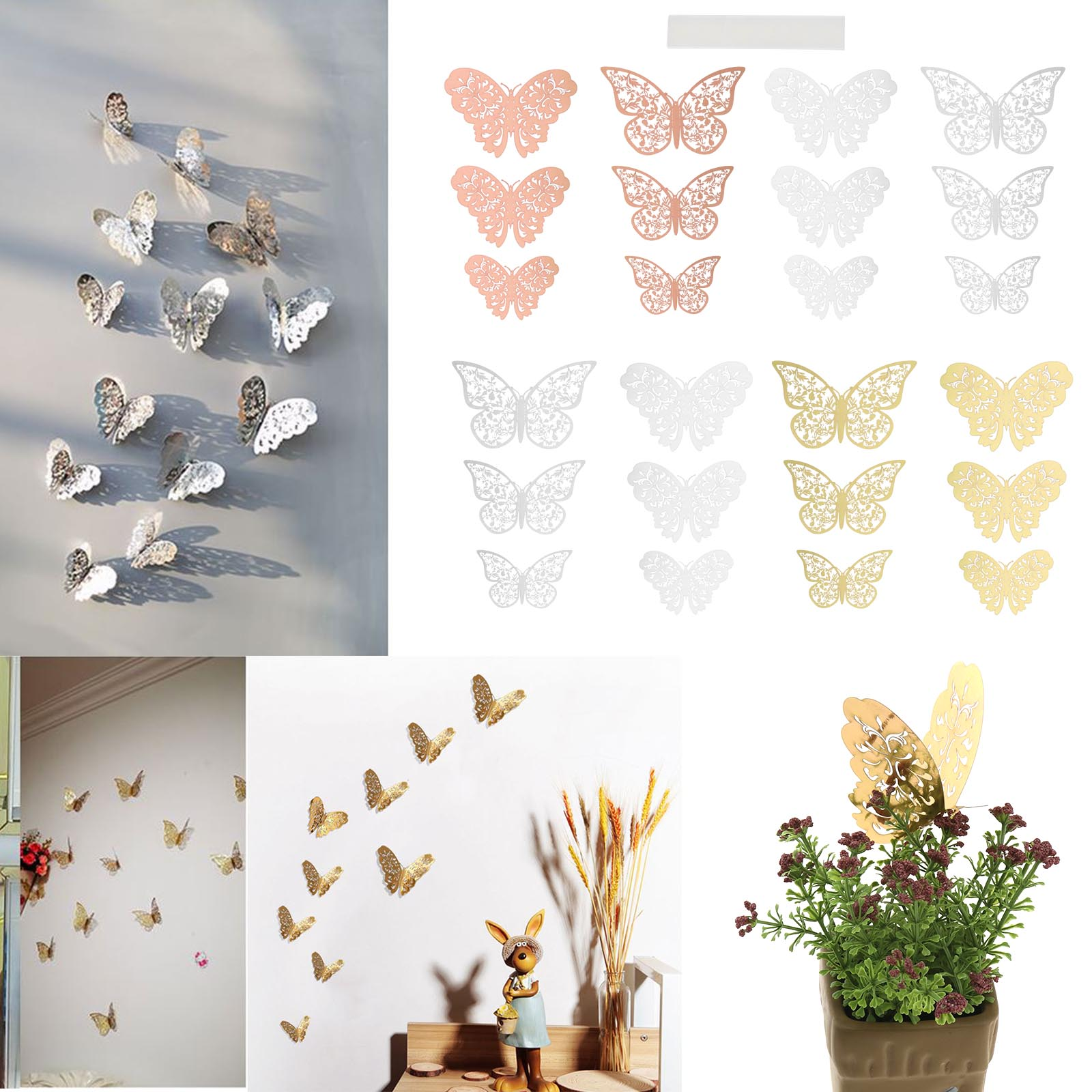30pcs Of Silver Butterfly Wall Decor Metal 3d Butterfly Wall Sticker Size 10cm