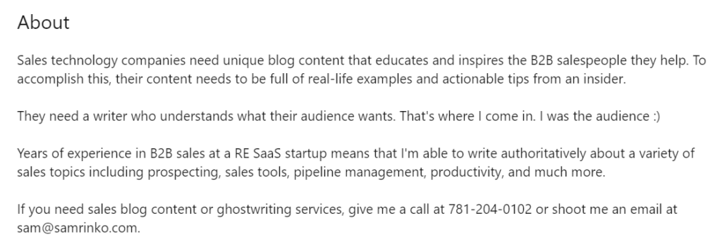 Linkedin about summary example