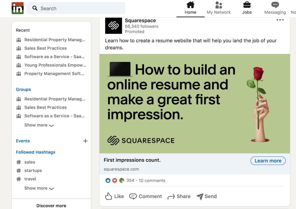 example Linkedin native Ad