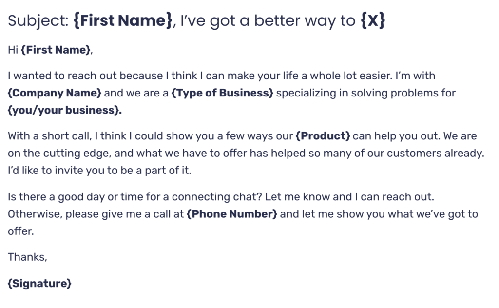 Free Cold email template