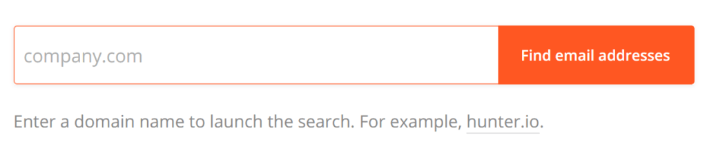 Example email lookup tool's search bar for finding email addresses