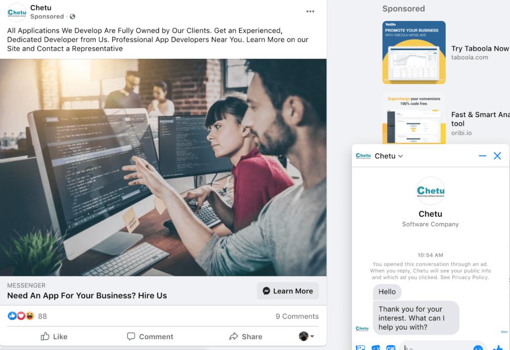 Example facebook messenger ad