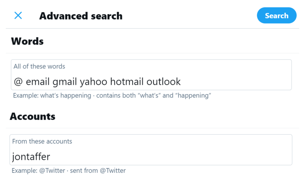 how to find email addresses using twitter advanced search
