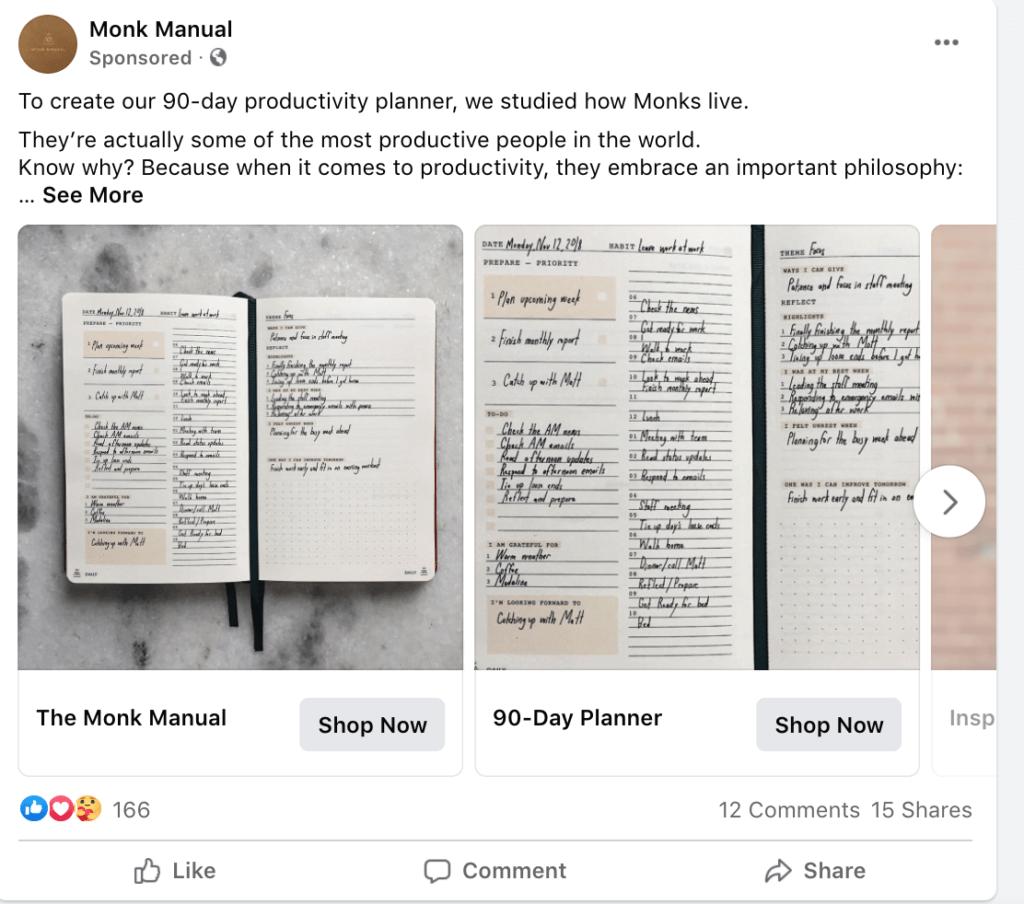 Example Facebook PPC ad