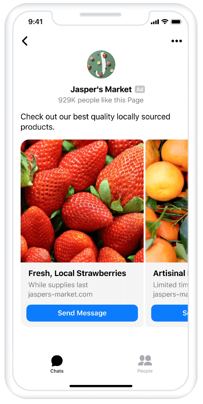 Example ad that opens to messenger