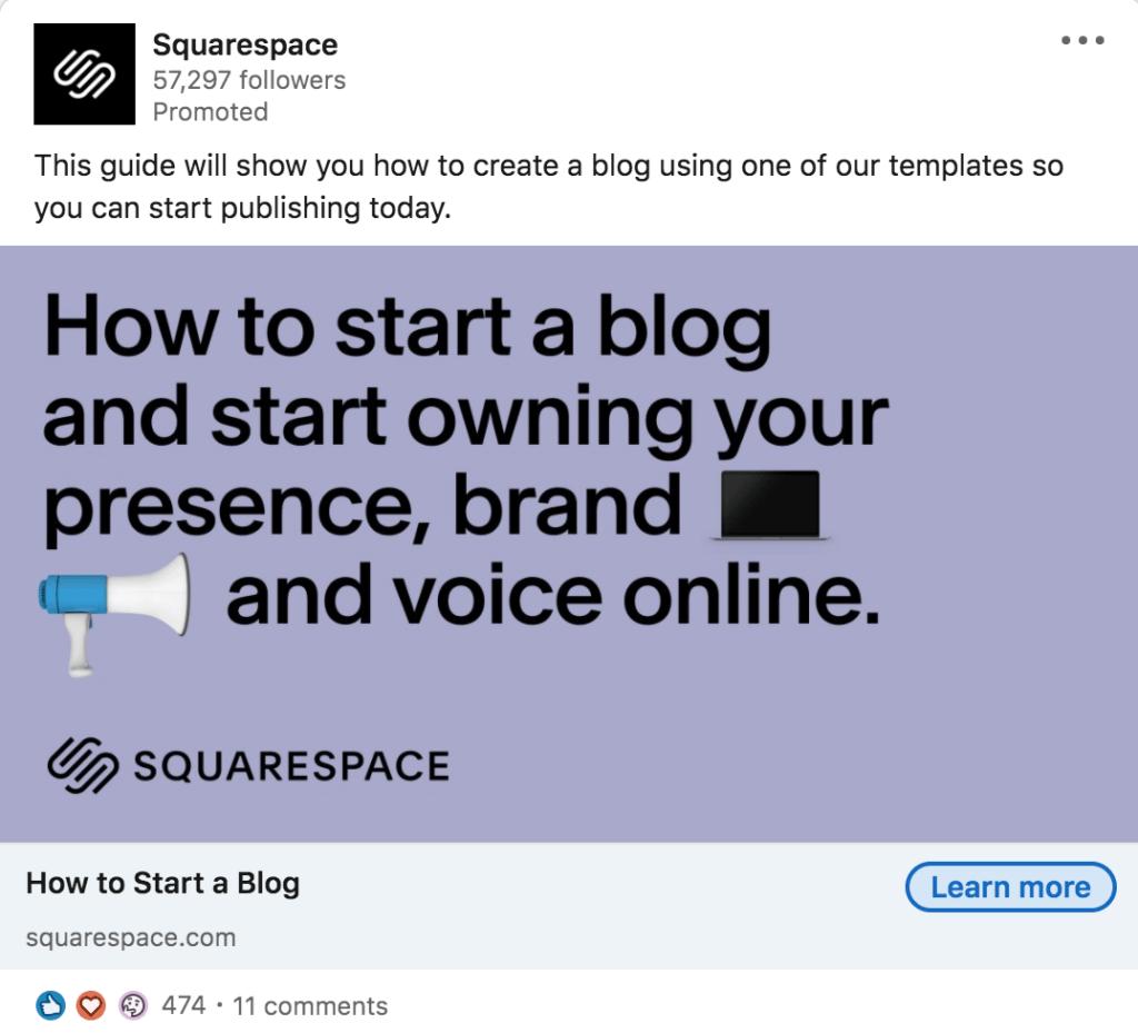 Squarespace Sponsored content