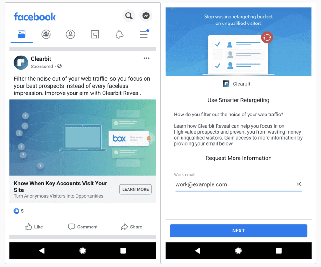 example facebook lead ad