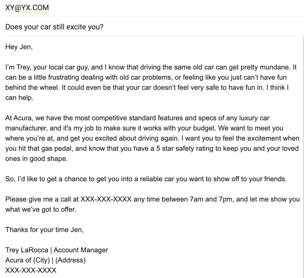 how to write a long cold email example
