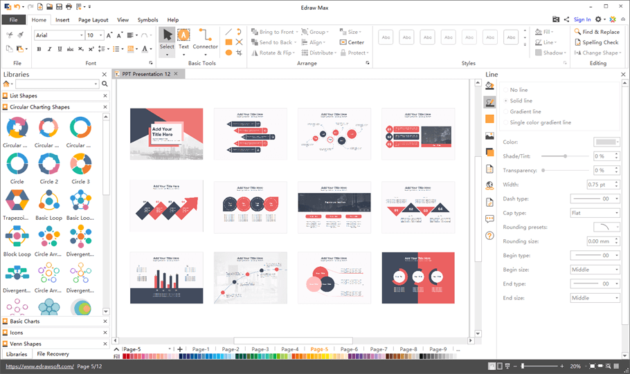 example presentation software interface