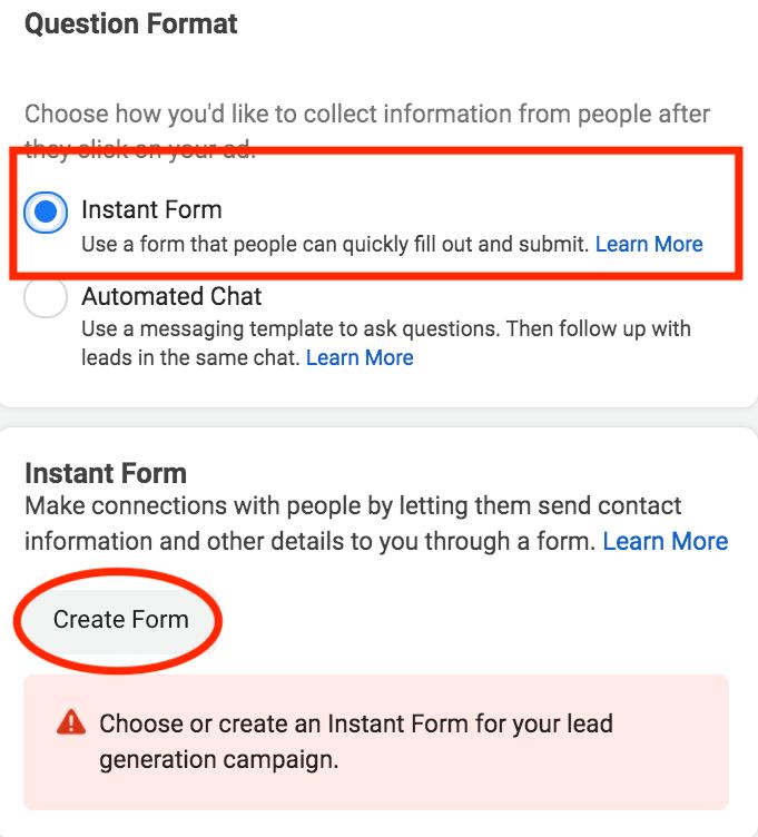 questions format facebook lead ad