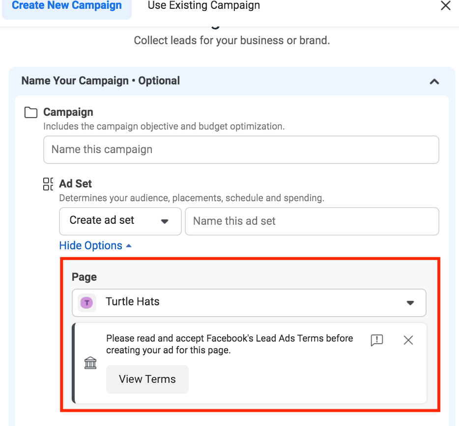 view terms for facebook lead ads