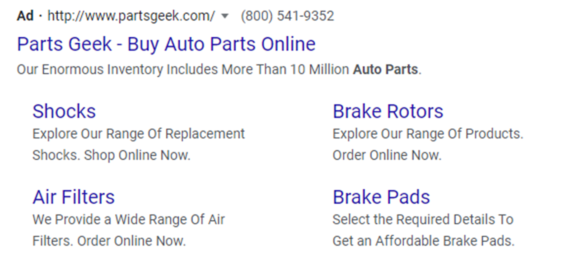 Google ad with sitelink extensions