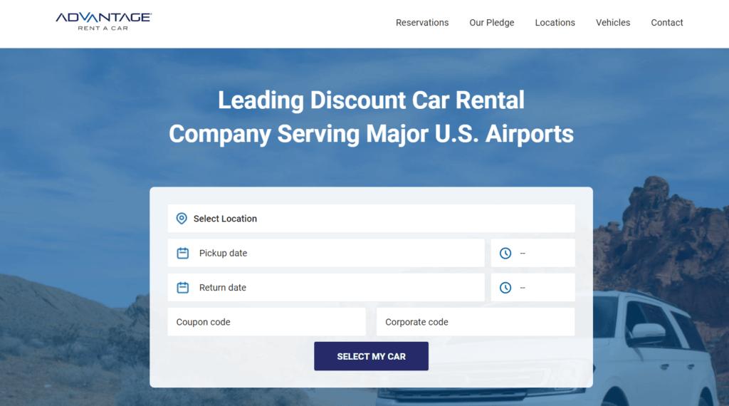Advantage Rent A Car homepage