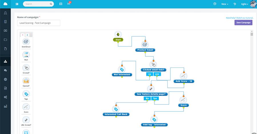 Agile social crm sample interface