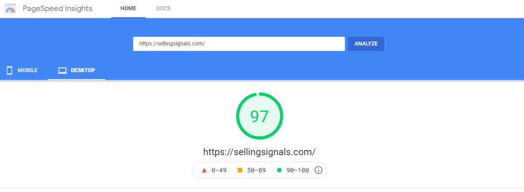 Example overall Core Web Vitals score
