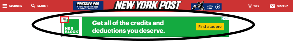 Google AdSense banner ad