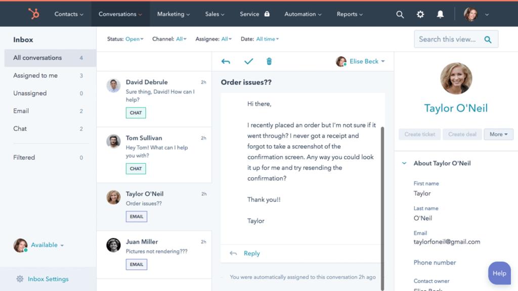 Hubspot social crm sample interface