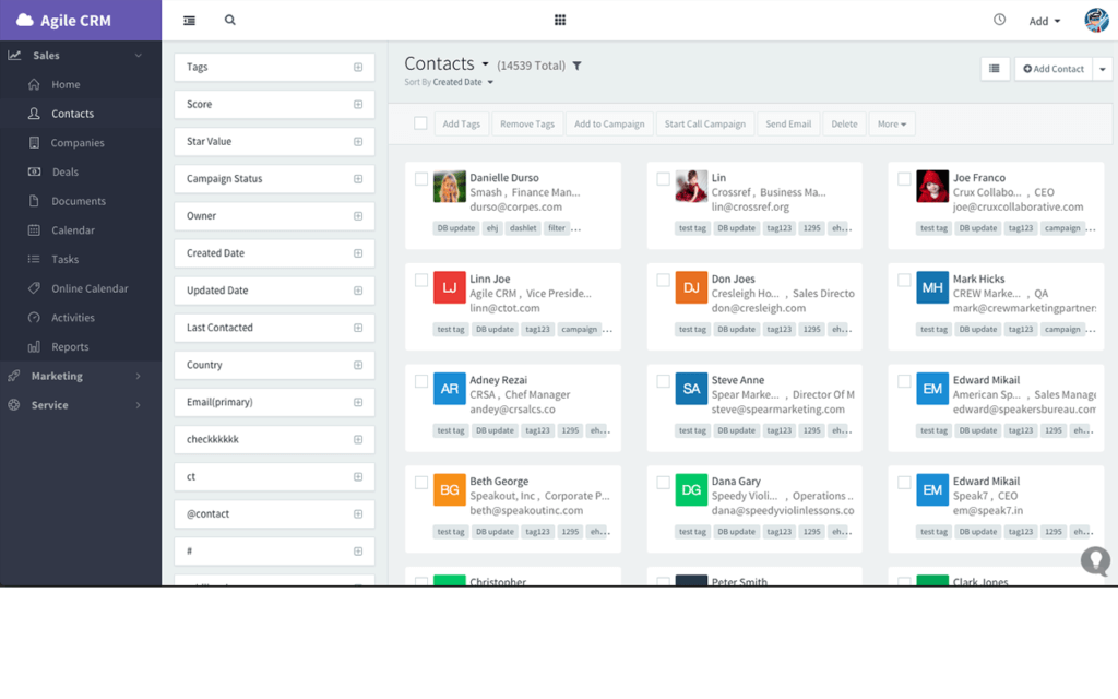Agile CRM dashboard