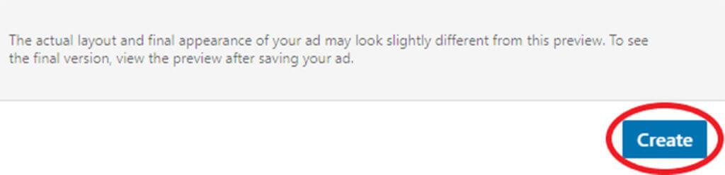 Create ad button (sponsored content ad)