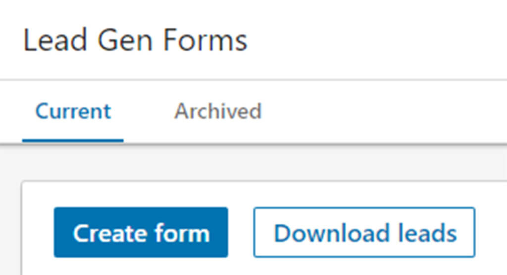 Create form & download leads buttons
