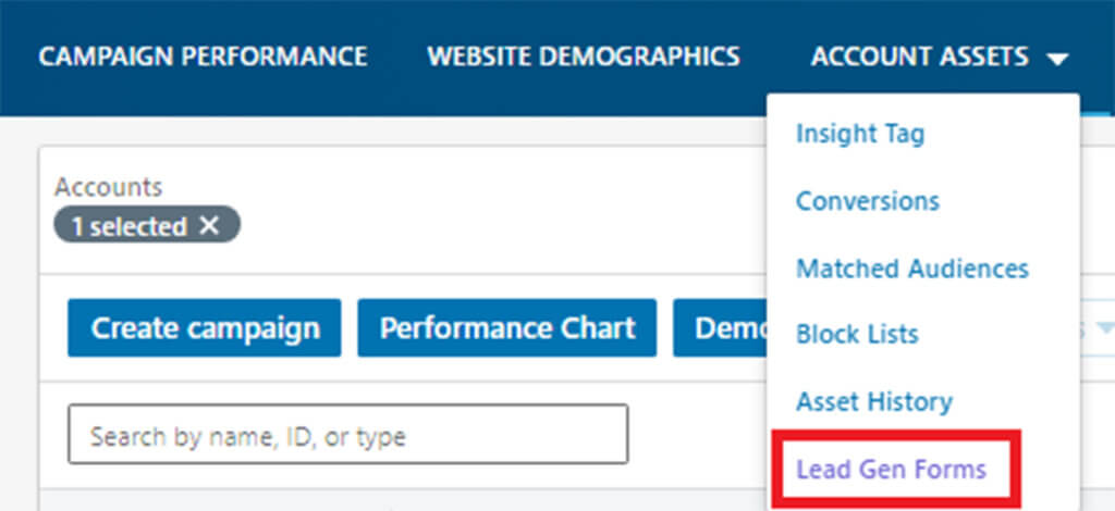 Example choose account asset