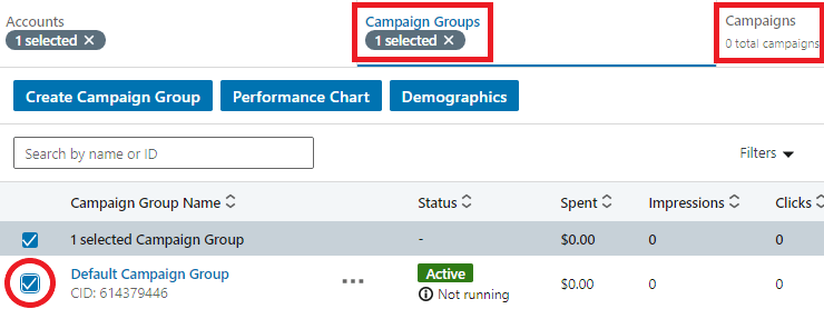 Example choose campaign group