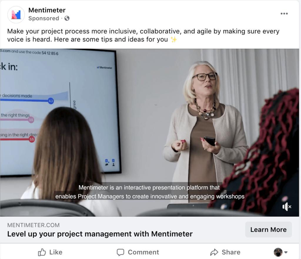 Example video Facebook ad