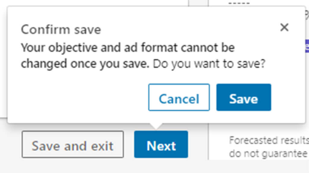 How to save objective & ad format