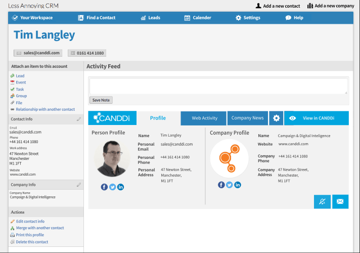 less annoying crm dashboard example