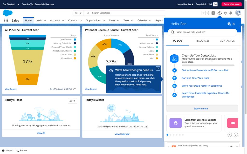 Salesforce Essentials CRM dashboard