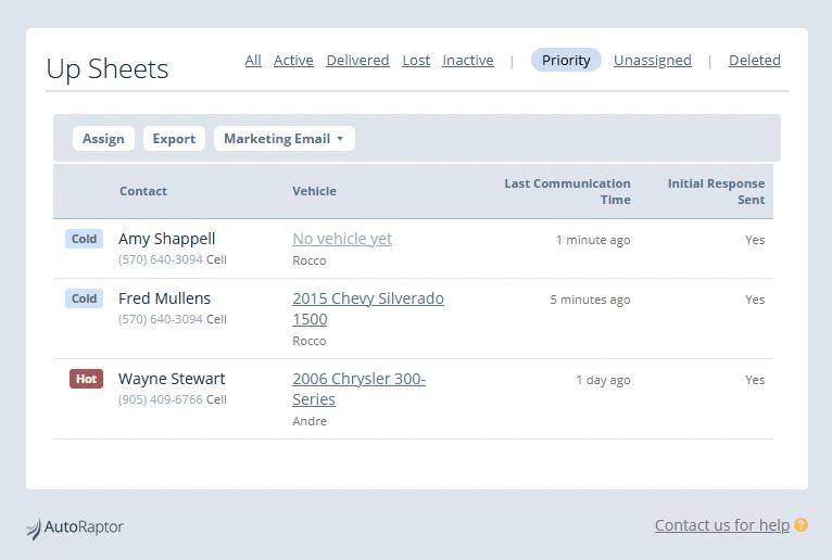 AutoRaptor Automotive CRM screenshot