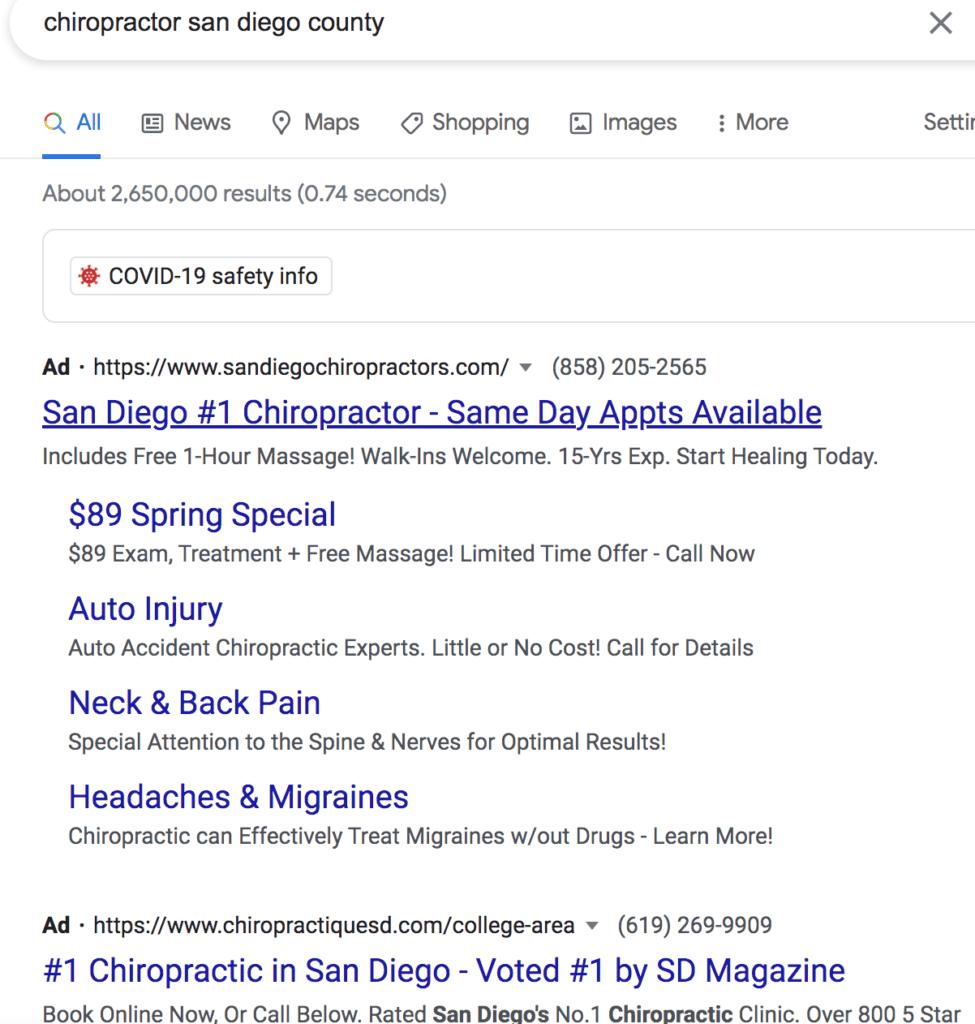 Example region-specific Google search ad