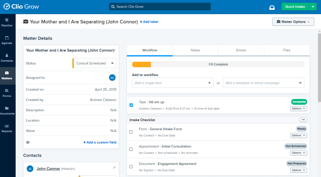 Clio Grow CRM for Law Firms