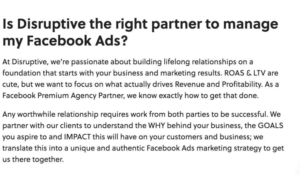 Disruptive Advertising - Facebook Ad Agencies