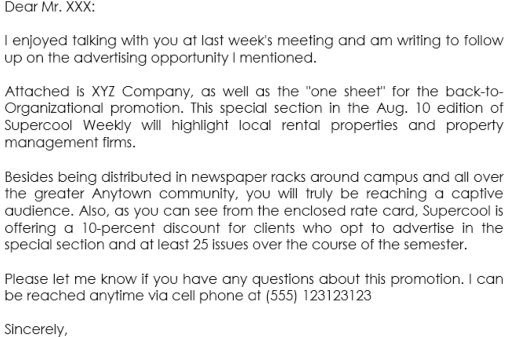 Example business proposal letter