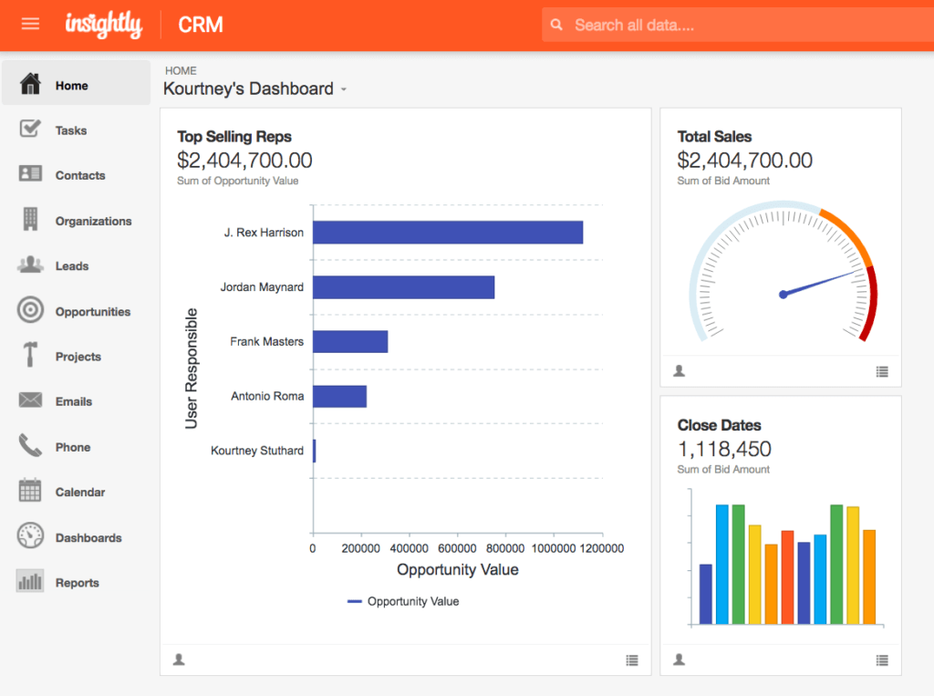 Example performance dashboard (from Insightly)