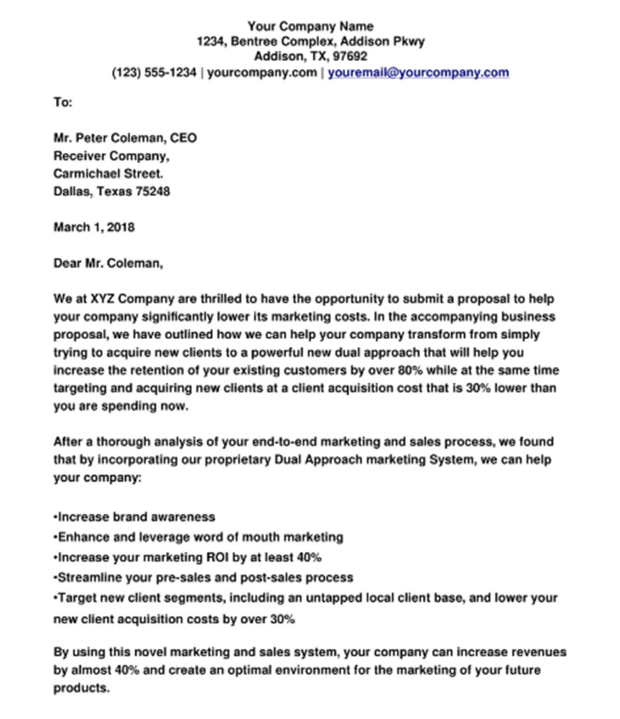 marketing agency business proposal letter example