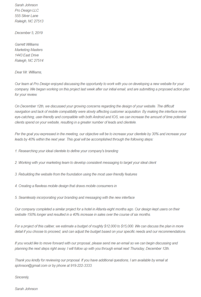 web design business proposal letter example