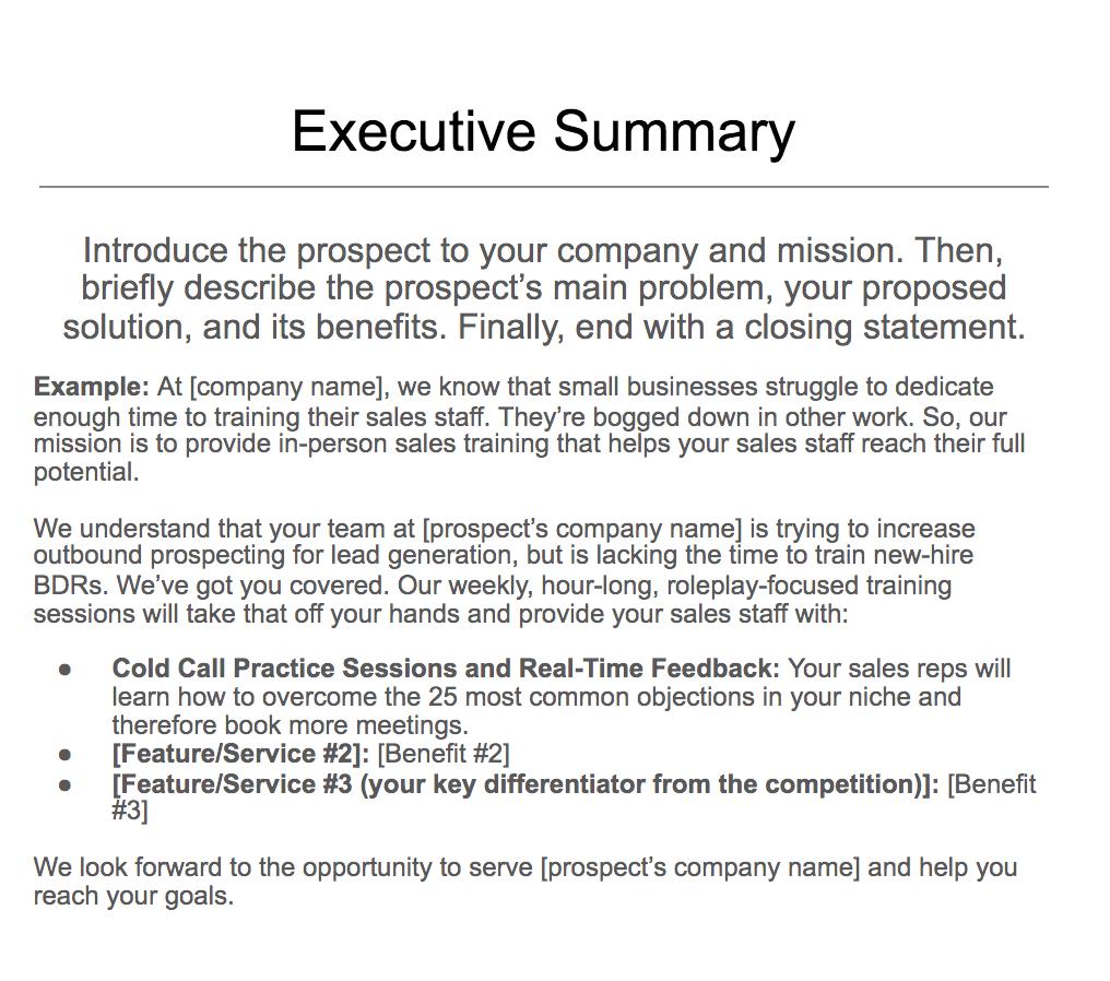 Executive summary example