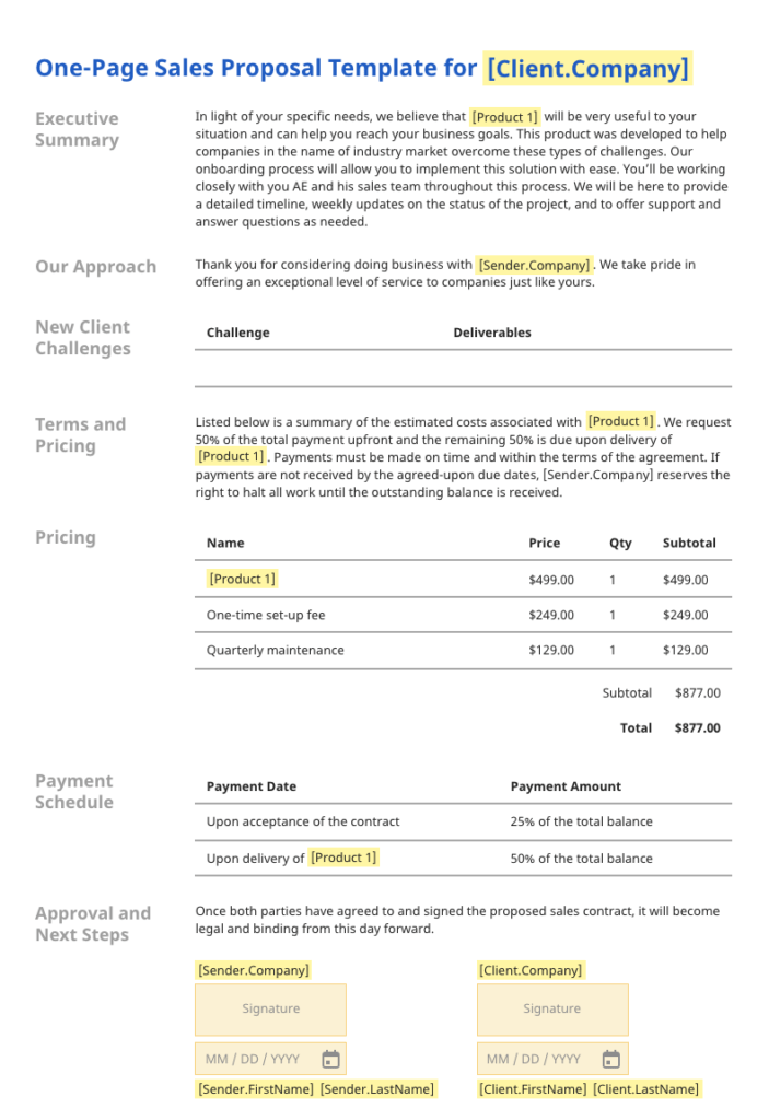 Generic one-page proposal example